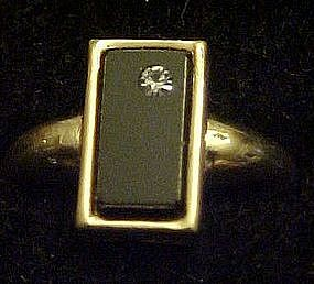 Vintage 1976 Delmonico ring, Onyx
