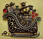 Antique sleigh  full of toys, pin, Holiday Lane