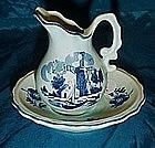 Enesco mini blue delft pitcher and basin set