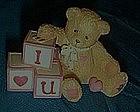 Cherished Teddies mini figurine, I love you blocks