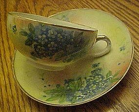 Antique Nippon china cup and saucer, blue hydrangeas
