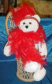 Singing, head bobbing flapper bear, red feather boa