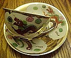 Vintage Japanese Cockeril and dragon teacup & saucer