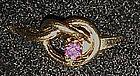 Vintage Avon  Love me Knot ring, amethyst rhinestone