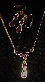 Avon Rialto amethyst necklace and clip earrings set