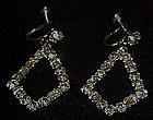 Vintage rhinestone dangle earrings, screw backs