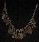 Vintage choker necklace with real polished agate drops