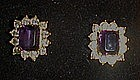 Avon amethyst and rhinestone post earrings