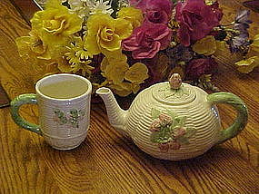 Wicker and strawberries teapot ,with free matching mug
