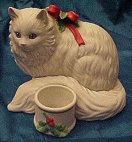 Enesco white persian cat figurine with votive holder
