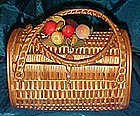 Vintage wicker basket purse with fruit