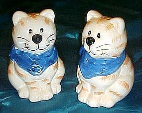 Fat tabby cat salt and pepper shakers