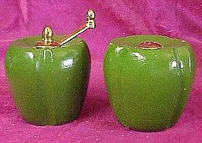 Wooden bell pepper salt shaker and pepper mill