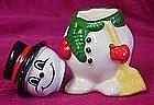 Ceramic snowman salt and pepper shakers