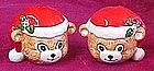 Santa teddy bear heads, salt and pepper shakers