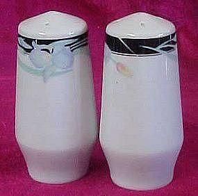 Porcelain shakers, black band,  blue iris,