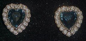 Sapphire hearts rhinestone clip earrings, Avon