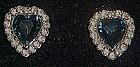 Sapphire hearts rhinestone clip earrings, Avon