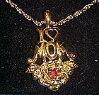 Avon Loving Moments, I love Mom garnet pendant, boxed