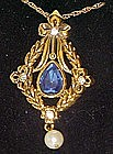 Avon Bold Traditions sapphire and pearl pendant