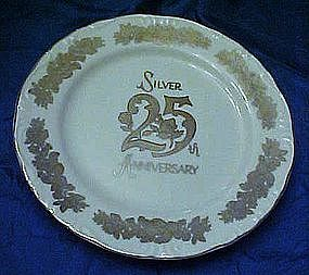 25th Silver wedding anniversary plate