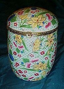 Large chintz porcelain hinged box