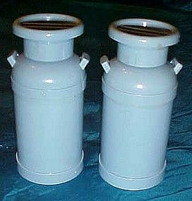 Blue plastic milk can salt
