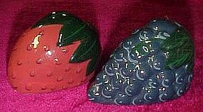 Grapes and Strawberry ceramic salt and pepper shakers