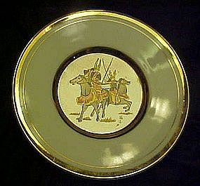 Art of Chokin porcelain plate, ancient warriors
