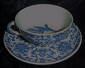 Vintage  blue Phoenix bird demi cup and saucer