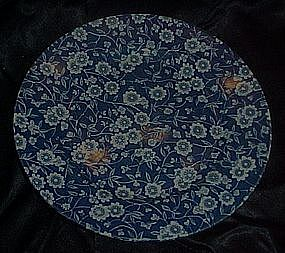 Cobalt blue calico chintz luncheon plate