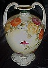 Large Nippon vase with roses, and two handles