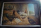 Original framed Andrew Stasky oil painting, Chickens