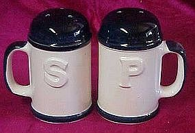 Large  ceramic range shakers, handles, blue trim