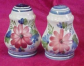 Hand painted flowers salt and pepper shakers Italy