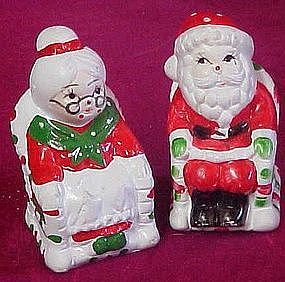 Mr & Mrs Santa claus in rocking chairs, shakers