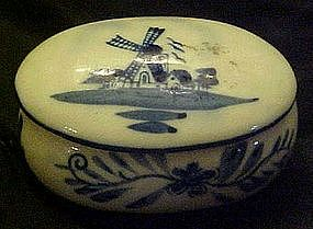 Delft blue trinket box with Holland windmills