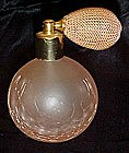 Vintage pink satin crackle glass perfume atomizer