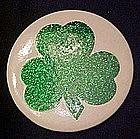 Large glittery  Irish shamrock pin back button