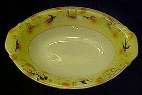 Old hand painted Japan oval bowl, w/ bluebirds swallows