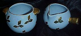 Demi creamer and sugar set possibly Hall, gold leaves