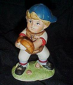 Homco little boy baseball catcher figurine