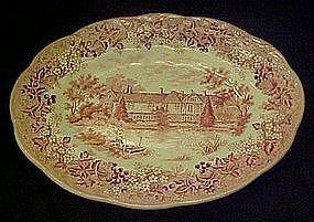 J.G. Meakin red transferware, Romantic England platter