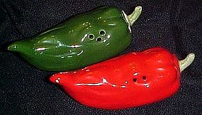 Red and green hot chili pepper, salt and pepper shakers