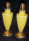 Tall vintage yellow lustreware salt and pepper shakers
