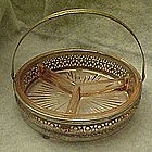 Three section pink  depression glass