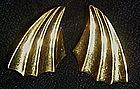 Vintage Monet gold tone earrings, fan / shooting star