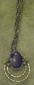 Handcrafted Lapis and Sterling, pendant and chain