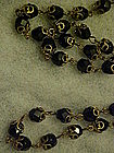 Vintage flapper jet black glass beads necklace 45""