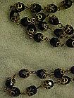 "Vintage flapper jet black glass beads necklace 45"""